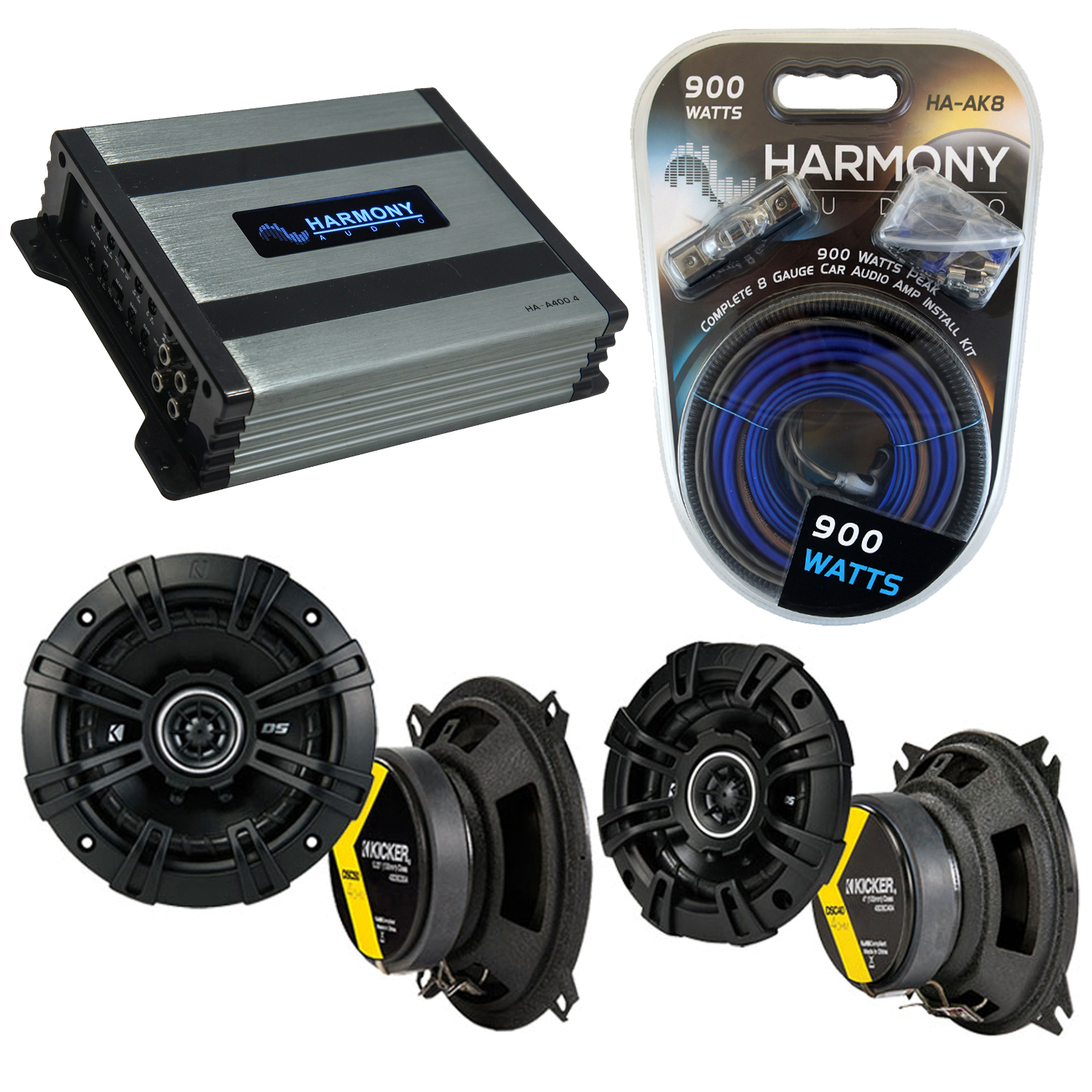 Compatible with Toyota Truck/4 Runner 89-93 Speaker Replacement Kicker DSC4 DSC65 & Harmony HA-A400.4 Amp
