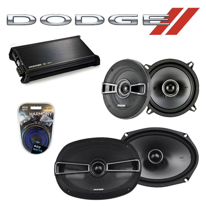 Dodge Charger 1974-1983 Factory Speaker Upgrade Kicker KSC5 KSC69 & DX400.4 Amp
