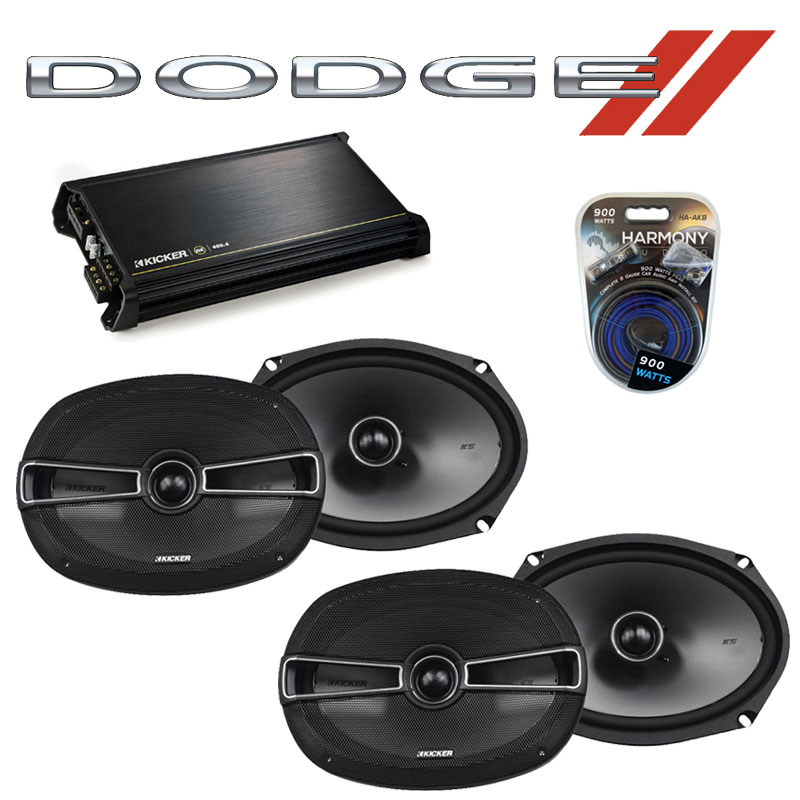 Dodge Charger 2005-2010 Factory Speaker Upgrade Kicker (2) KSC69 & DX400.4 Amp