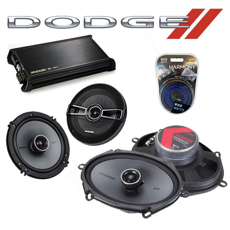 Dodge Dakota 1987-1996 Factory Speaker Upgrade Kicker KSC65 KSC68 & DX400.4 Amp