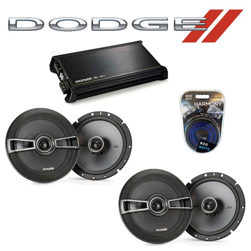 Dodge Dakota 2008-2011 Factory Speaker Upgrade Kicker (2) KSC67 & DX400.4 Amp