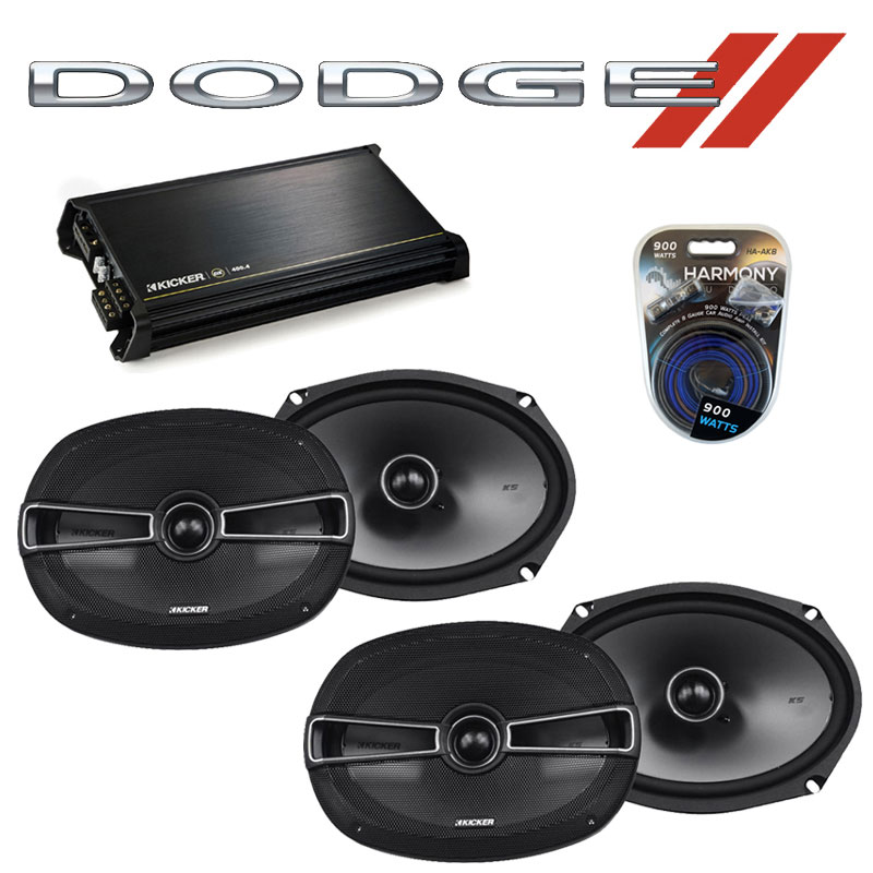 Dodge Journey 2009-2010 Factory Speaker Upgrade Kicker (2) KSC69 & DX400.4 Amp