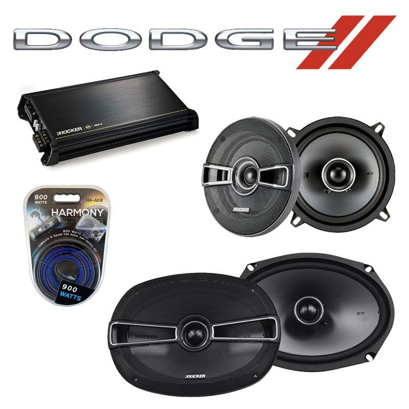 Dodge Monaco 1990-1992 Factory Speaker Upgrade Kicker KSC5 KSC69 & DX400.4 Amp