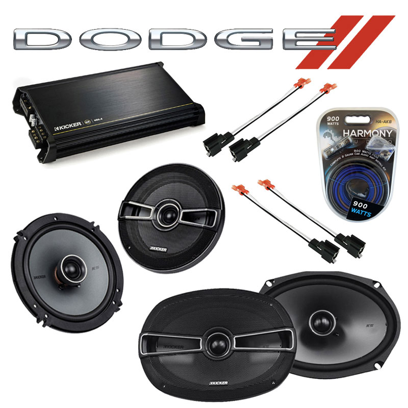 Dodge Stratus 1995-2000 Factory Speaker Upgrade Kicker KSC65 KSC69 & DX400.4 Amp