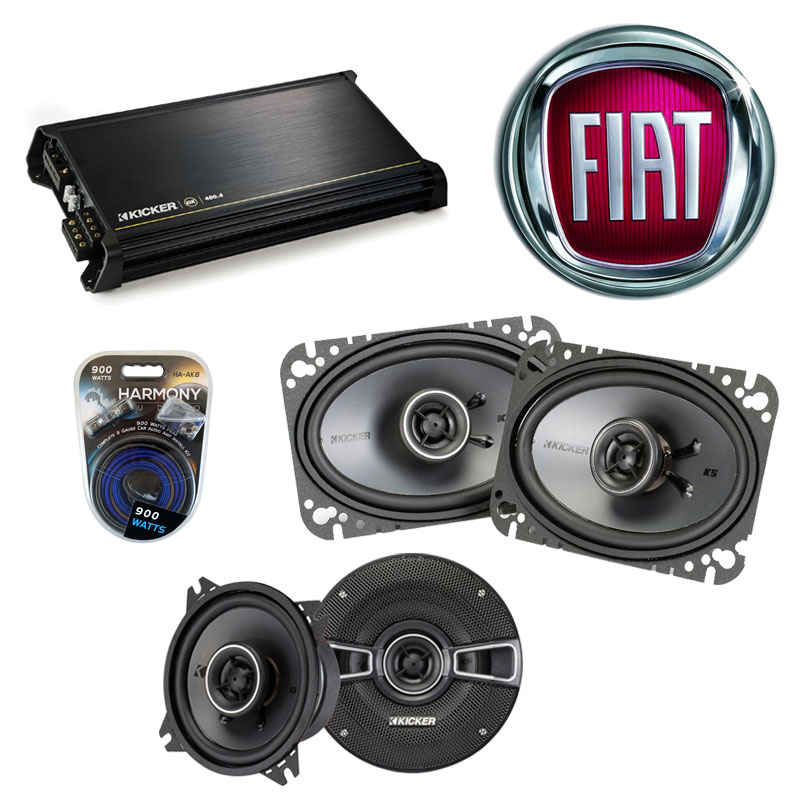 Fiat X19 1985-1988 Factory Speaker Replacement Kicker KSC4 KSC46 & DX400.4 Amp