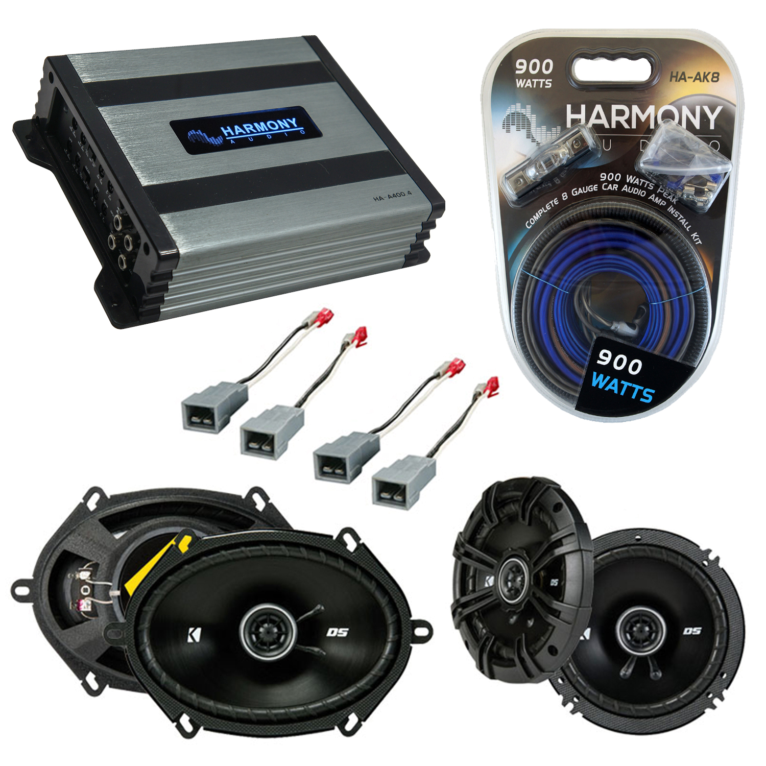 Compatible with Ford Bronco (Full Size) 1987-1996 Replacement Kicker DSC65 DSC68 & Harmony HA-A400.4 Amp