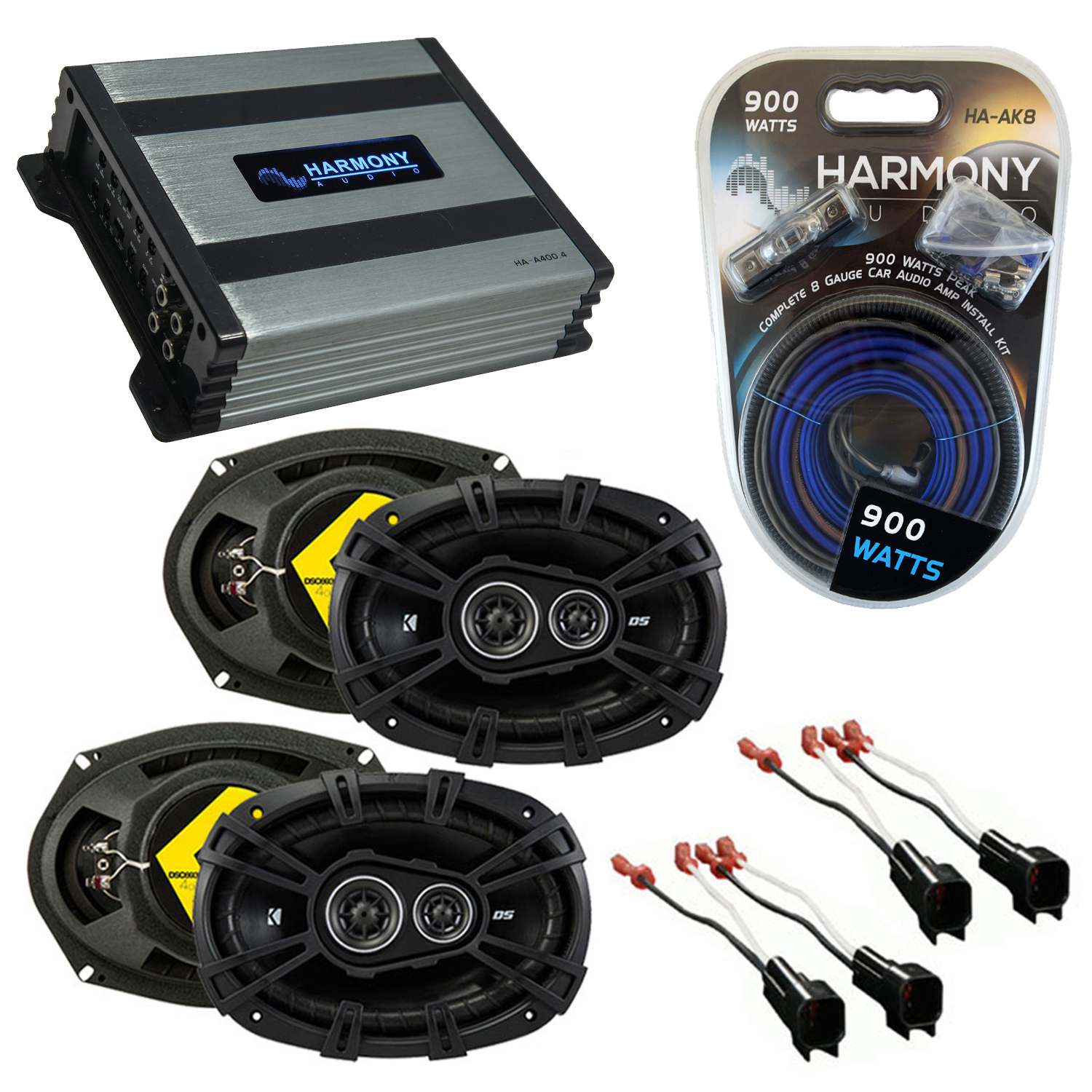 Compatible with Ford Crown Victoria 98-11 Speaker Replacement Kicker DSC68 DSC693 & Harmony HA-A400.4 Amp