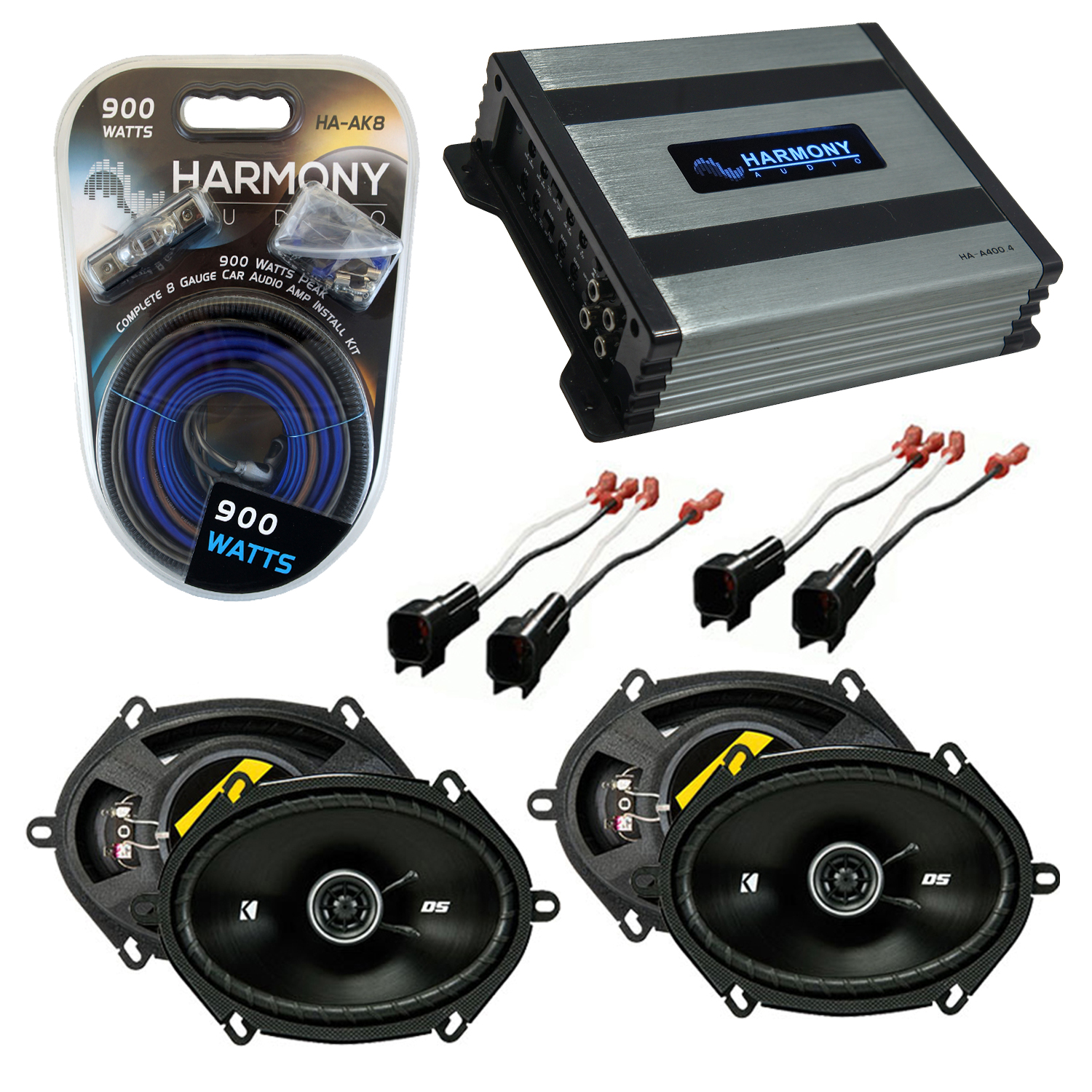 Compatible with Ford F-250/350/450/550/650/750 99-04 Speaker Replacement Kicker 2 DSC68 & Harmony HA-A400.4