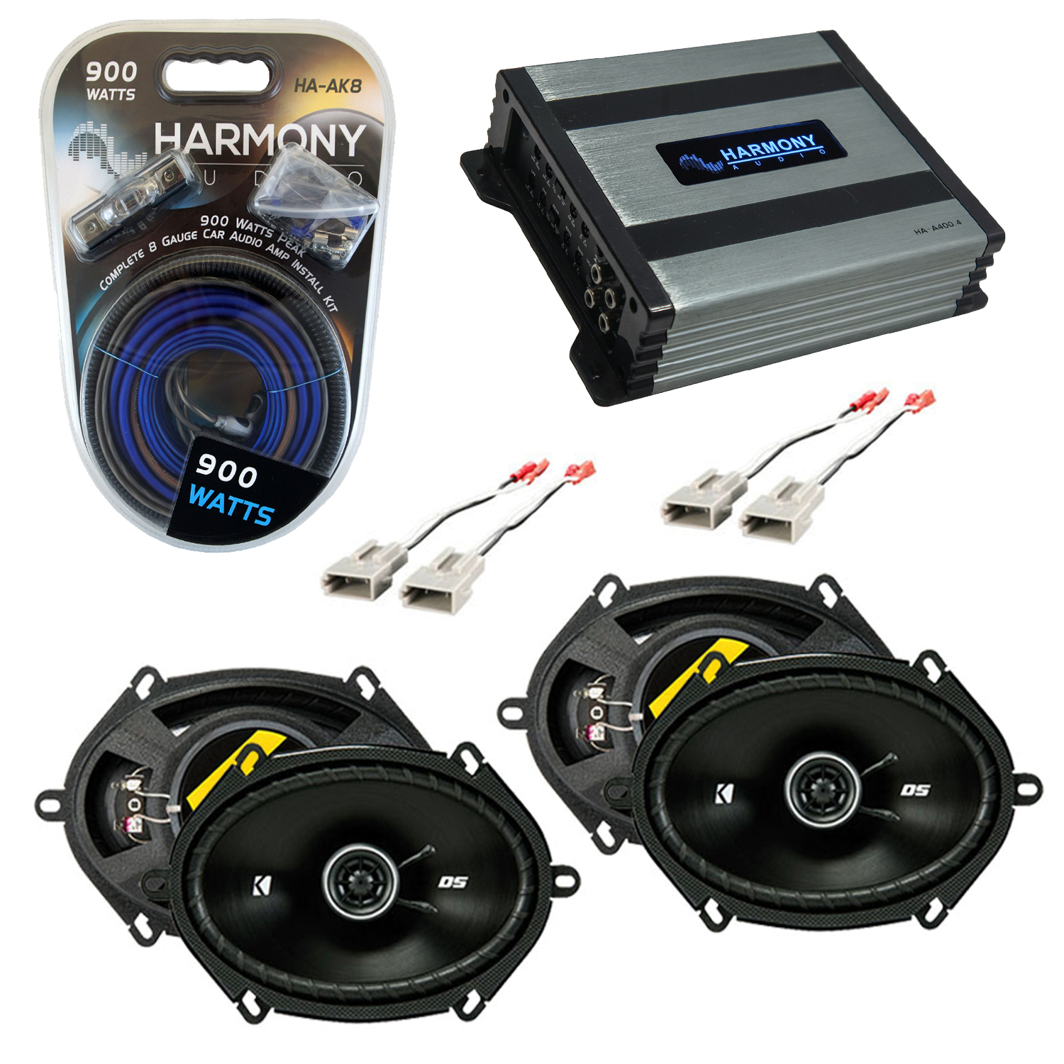 Compatible with Ford Thunderbird 1989-1997 Speaker Replacement Kicker (2) DSC68 & Harmony HA-A400.4 Amp
