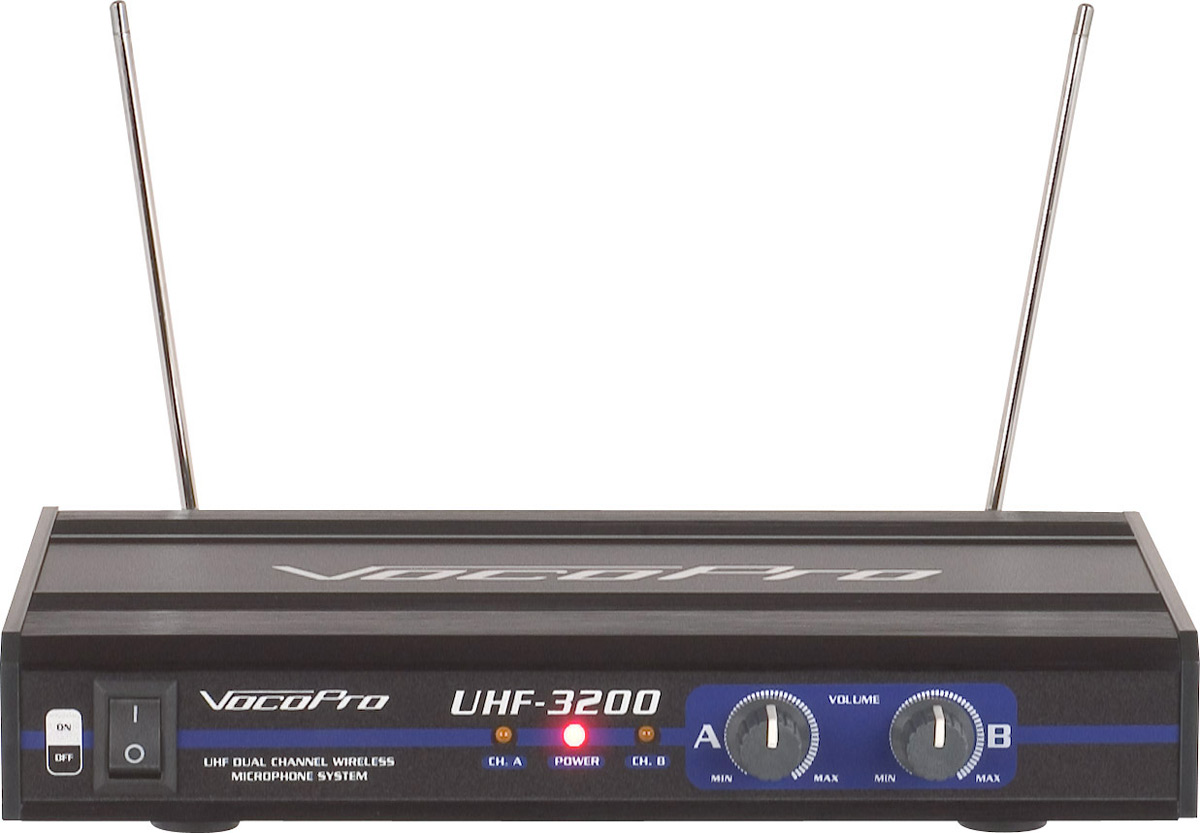 VocoPro UHF-3200-6 Dual Channel Wireless Mic System with 1RU Receiver Chassis