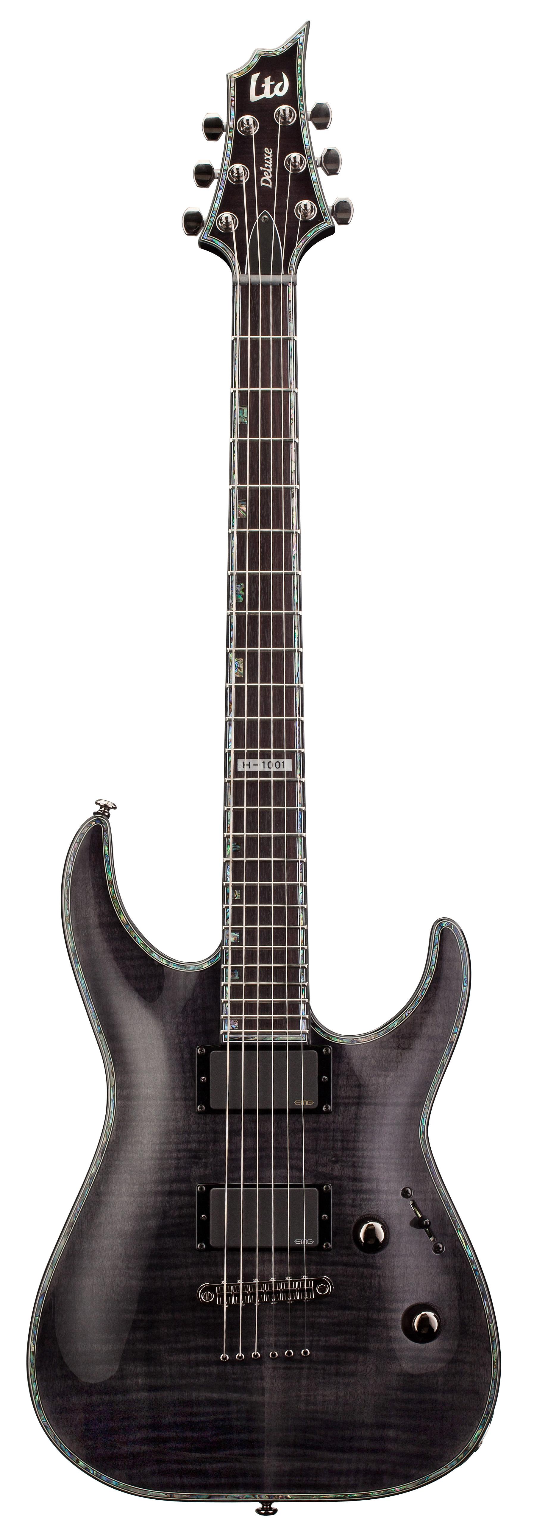 esp ltd h 1001 fm h series electric guitar see thru black finish flamed maple top mahogany. Black Bedroom Furniture Sets. Home Design Ideas