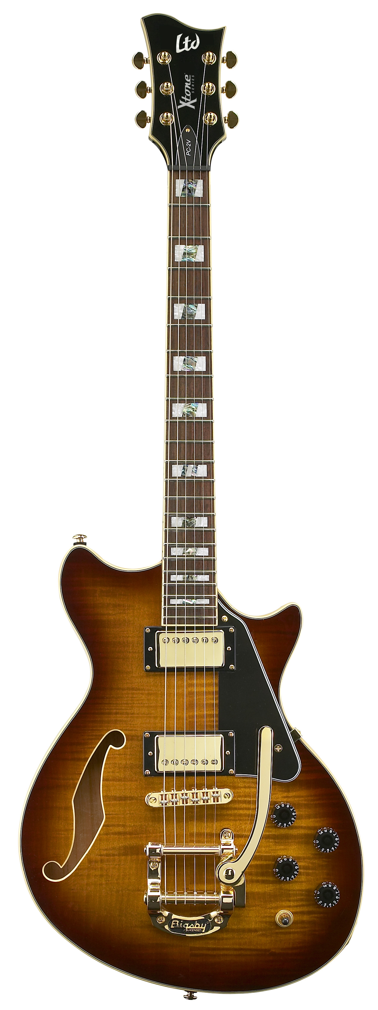 esp ltd pc 2v x tone paramount hollow body electric guitar brown sunburst finish xpc2vbsb. Black Bedroom Furniture Sets. Home Design Ideas